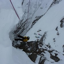 Rappel in La Voute !  The one in red at the right . Photo: Unkown. Rider: Toni ski kmx.