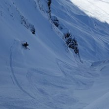 "Variante 20b in the book ""Freeride Guide . Photo: Roger Fischer. Rider: Martin Strahm."