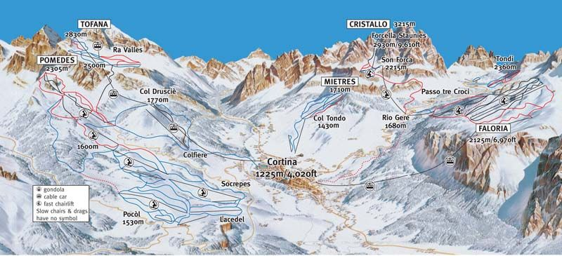 Cortina dAmpezzo Skimap Freeride