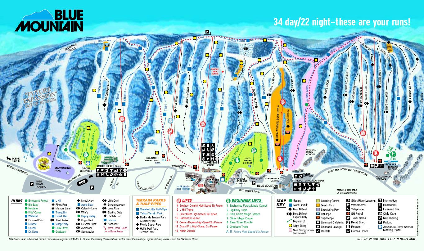 blue mountain - ontario skimap - freeride